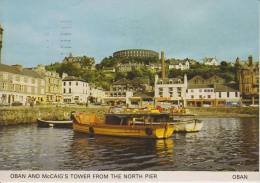 SCOZIA--OBAN--OBAN AND MCCAIG'S TOWER FROM THE NORTH PIER--BOATS--350 YEARS SERVICE ROYAL MAIL--FG--V 17-8-85 - Argyllshire