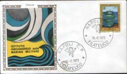 """Italia 1973 Italia Busta FDC """"Filagrano"""" 100° Anniv. Dell'Istituto Idrografico Della Marina Militare - 6. 1946-.. Repubblica"""