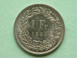 1994 - 1 FRANC / KM 24a.2 ( Uncleaned - For Grade, Please See Photo ) ! - Suiza