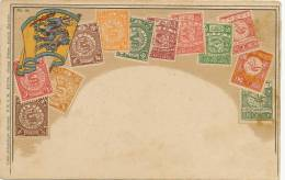 China  Carte Philatelique 222744 Ottmar Zieher Gaufrée Embossed Chinese Imperial Stamps - China