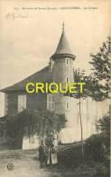 Cpa 38 Arcollières, Le Chateau, Femme Et 2 Enfants En Avant, Propriétaire Nommé - Altri Comuni