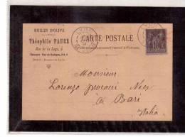 DE451   -  FRANCIA STORIA POSTALE  -   CARTE POSTALE     LYON/BARI     28.10.1891 - Marcophilie (Lettres)