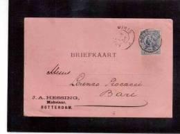 DE466   -  OLANDA STORIA POSTALE  -    BRIEFKAART   ROTTERDAM/BARI   27.8.1895 - Periode 1891-1948 (Wilhelmina)