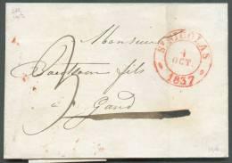 LAC De Saint-NICOLAS (càd Dc Rouge Perlé) Du 4 Octobre 1837 Vers Gand; Port De 3 Cdécimes - 8818 - 1830-1849 (Belgique Indépendante)