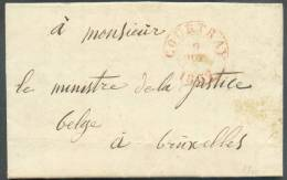 LAC Datée D´ISEGHEM Le 8 Octobre 1837 Via Dc COURTRAI (càd Dc Rouge)  Vers Bruxelles; Franchise De Port - 8819 - 1830-1849 (Belgique Indépendante)