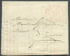 LAC De YPRES Le 1 Avril 1833 (càd Dc Rouge) Vers Tournai, Port De 3 Décimes - 8823 - 1830-1849 (Belgique Indépendante)