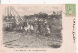 COTE D'IVOIRE 10 MISE A TERRE D'UNE BILLE D'ACAJOU (ANIMATION) 1904 - Côte-d'Ivoire