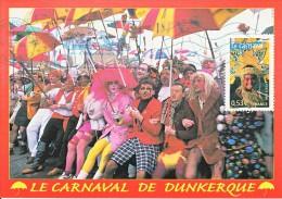 Carte-Maximum FRANCE N°Yvert 3887 / Carnaval De Dunkerque, Obl Flamme - 2000-09