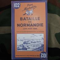Carte Du Débarquement De Normandie Juin à Aout 1944, Réimpression De La Carte Historique Michelin De 1947 - 1939-45