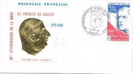 Polynesie Francaise FDC Enveloppe Premier Jour Charles De Gaulle Anniversaire Deces 9/11/1980 YT 159 Cote 6 - Zonder Classificatie