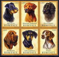 ROMANIA 2005 Hunting Dogs In Block Of 6 MNH / **.  Michel 5982-87 - 1948-.... Republics
