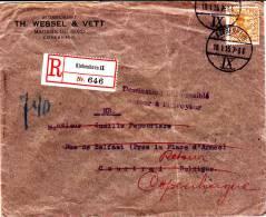 """N°79 Perfore""""T H W/&V""""Kjobenhavn 19.I.15 S/l.recomm.v.Courtrai(B)-griffe""""destination Inacessible/retour à L Envoyeur"""".R - 1915-1921"""