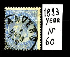 BELGIO - BELGIQUE - Re LEOPOLDO II - Year 1893 - YT 60 - Viaggiato - Traveled. - 1893-1900 Barba Corta