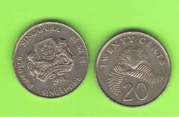 SINGAPUR - SINGAPORE -  20 Cents KM4  -  Ver Años - Look Years - Singapur