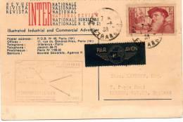 FRANCE CARTE PAR AVION 1er SERVICE AERIEN SANS SURTAXE DEPART PARIS 1-6-38 POUR LONDRES - 1927-1959 Briefe & Dokumente