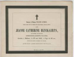 Blyckaerts Jeanne Catherine Douairière De Godefroid Villers Décédée à Malines 27 Mai 1845 - Obituary Notices