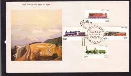 O) 1976 INDIA-CALCUTA, FERROVIAS, TRAINS,   LOCOMOTIVES, FDC F.- - FDC