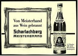 Reklame Werbeanzeige Von 1965 -  Scharlachberg Meisterbrand  -  Von Meisterhand Aus Wein Gebrannt - Alkohol