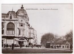 CP 10*15/S463/MONTPELLIER REPRODUCTION AU TEMPS JADIS BORDS DE LA PROMENADE - Montpellier