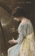 """FEMMES - FRAU - LADY -  Jolie Carte Fantaisie Portrait Femme Jouant De La Harpe """"Vive Sainte CECILE """" - Women"""