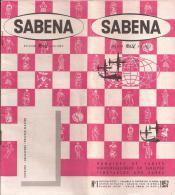 Sabena / Horaires Et Tarifs 1957 - Aviation