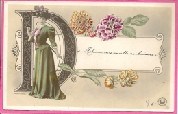 13 / 5 / 135  _  JEUNE  FEMME ,  FLEURS  ET LA LATTRE  D - Illustrateurs & Photographes