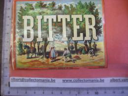 1 ETIQUETTE XIX Ième -  Litho  1870  à 1890 - BITTER  - Imprimeur E. PICHOT  Modele Depose 293 - Oogst Erbst Vendange - Donkeys