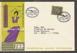 TAP FIRST FLIGHT LISBON-GOA 1961 SCARCE FLIGHT COVER