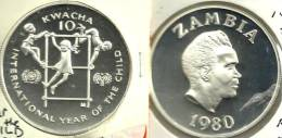 ZAMBIA 10 KWACHA YEAR OF CHILD FRONT MAN HEAD BACK 1980 PROOF SILVER KM21 READ DESCRIPTION CAREFULLY !!! - Zambia