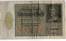 Billet De 10000 Mark 1922 ALLEMAGNE Série T 0585204 - [ 3] 1918-1933 : Weimar Republic