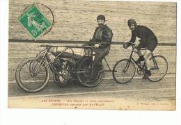 CP  LES SPORTS - NOS STAYERS ET LEURS ENTRAINEURS LEPOUTRE ENTRAINE PAR BATHIAT-ECRITE EN 1909 - Ciclismo