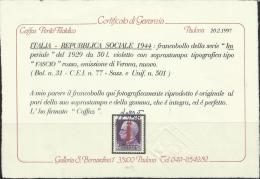 ITALY KINGDOM ITALIA REGNO 1944 REPUBBLICA SOCIALE RSI EMISSIONE DI VERONA LIRE 50 MNH CERTIFICATO - 4. 1944-45 Repubblica Sociale