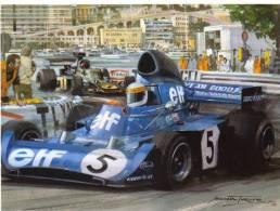 Monaco Grand Prix 1973  -  Jackie Stewart  -  Tyrrell  -  Artwork By Michael Turner  -  Carte Postale - Grand Prix / F1