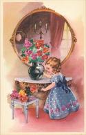 ENFANTS - LITTLE GIRL - MAEDCHEN - Jolie Carte Fantaisie Fillette Avec Bouquet De Fleurs Devant Miroir - Children's Drawings