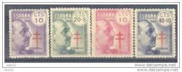 ES936-L39561TOSC.España.Spain Spagne.PRO TUBERCULOSOS FRANCO 1940   (Ed 936/39**) Sin Charnela. MAGNIFICA. - Organizaciones