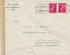 897/20 -- Lettre TP Col Ouvert En TETE BECHE GENT 1944 Vers Allemagne - Censure Allemande - Inverted (tête-bêche)