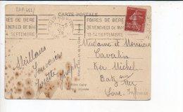"""1938 - Flamme RBV Temporaire Chateaubriant """"Foire De Bere Mai & Sept."""" Sur Semeuse - Marcophilie (Lettres)"""