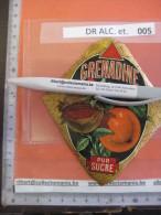 1 ETIQUETTE LITHO Parafiné  - GRENADINE , Fruit Superbe -  IMPRIMEUR Romain & Palyart Paris - Foglie