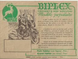 Depliant Publicitaire Ancienne Tablier Biplex Voir Scanne - Motos