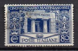 1922  - ANNIVERSARIO MORTE G. MAZZINI 0,80 L Usato - 1900-44 Vittorio Emanuele III