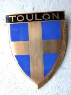 ANCIENNE PLAQUE DE SCOOTER EMAILLEE ANNEE 1950 TOULON 83 EXCELLENT ETAT AUCUNS ECLATS DRAGO PARIS - Reclameplaten