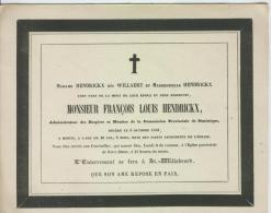 Hendrickx François, époux De Mme Willaert, Anvers 5 Octobre 1843 - Obituary Notices