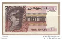 Unione Birmana - Banconota Non Circolata Da 10 Kyats - Myanmar