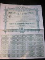 1903 TITRE Action De 500 Francs Mines De CONDORCET Cachet A Sec CARPENTRAS Belle Gravure - Mineral