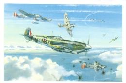 Spitfire Mk IX  -  Pierre Clostermann   -  Art Carte Par Benjamin Freudenthal - Aviateurs