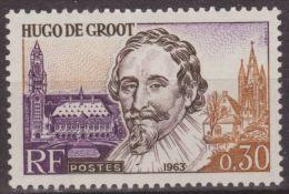 Francia 1963 Scott 1063 Sello ** Personajes Hugo De Groot, Palacio De La Paz, La Haya & Iglesia De St. Agatha Delft 0,30 - France