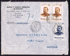 1954  Lettre Avion De Manamjary  Pour La France  Yv 317, 318 X 2 - Madagascar (1889-1960)