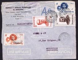 1954  Lettre Avion De Maroantsetra Pour La France Yv  308, 312, 313, 316 - Madagascar (1889-1960)