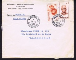 1955  Lettre Avion De Manakara Sud  Pour La France Yv  313, 315 - Madagascar (1889-1960)