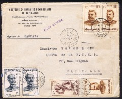 1951  Lettre Avion De Sambava Pour La France Yv  3303, 309 X2, 318 X3 - Lettres & Documents